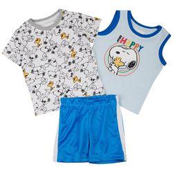 Peanuts Baby Boys 3-pc. Snoopy & Woodstock Short Set