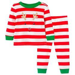 Little Me Baby Boys 2-pc. Reindeer Stripe Pajama Set