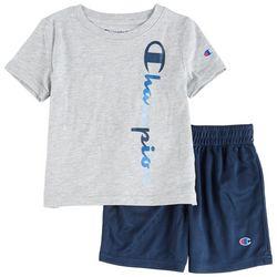Champion Toddler Boys 2-pc. Logo Vertical Script Short Set