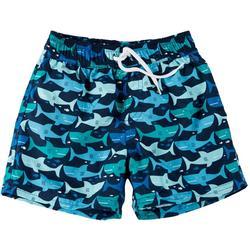 Toddler Boys Shark Print Swim Trunks