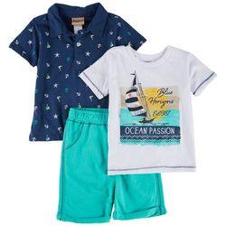 Little Lad Toddler Boys 3-pc. Sailboat & Anchor Shorts Set