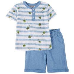 Brooklyn Boys Toddler Boys 2-pc. Stripe Palm Tree Shorts Set