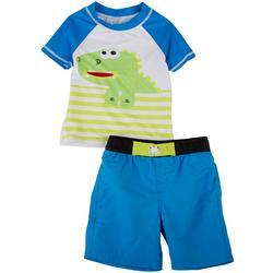 Toddler Boys Dino Long Sleeve Rashguard Set
