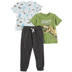 Nanette Toddler Boys 3-pc. Dino Short Sleeve Top Set