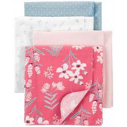 Carters Baby Girls 4-pk. Floral Flannel Blanket Set