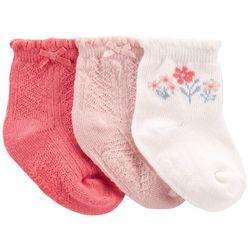 Carters Baby Girls 3-pk. Ruffle Floral Socks