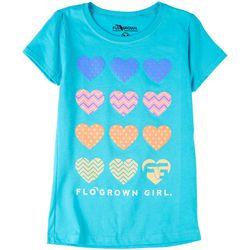 FloGrown Big Girls Preppy Hearts Short Sleeve T-Shirt