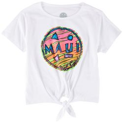 Maui & Sons Big Girls Retro Logo Tie Front T-Shirt