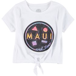 Maui & Sons Girls Short Sleeve Logo Front Tie Top