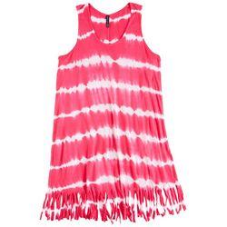 Raviya Big Girls Tie Dye Stripe Fringe Swim Cover-Up