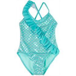 Little Girls Mermaid Scale Ruffle Swimsuit