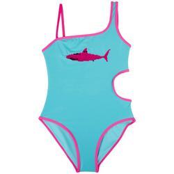 Big Girls Sequin Shark Swimsuit