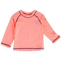 Pink Platinum Little Girls Heart Long Sleeve Rashguard