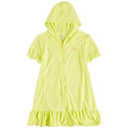 Pink Platinum Big Girls Solid Zipper Hooded Cover