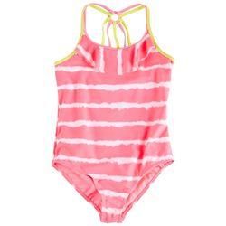 Kensie Girl Big Girls Tie Dye Stripe Swimsuit