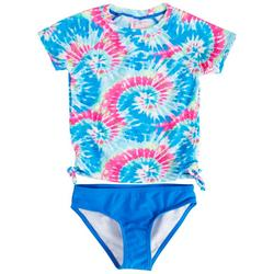 Little Girls 2-pc Tie Dye Rashguard Swimsuit Set