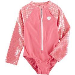 Floatimini Little Girls Mermaid Zip Placket Swimsuit