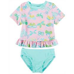 Little Girls 2-pc. Butterfly Rashguard Swimsuit