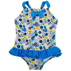 Floatimini Little Girls Ditsy Floral Bow Swimsuit