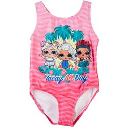LOL Surprise Little Girls Vacay All Day One-Piece Swimsuit