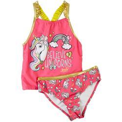 Little Girls 2-pc. Believe Unicorns Tankini Set