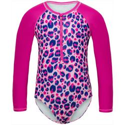 Little Girls Animal Print Rashguard Swimsuit