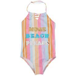 Little Girls Beach Please Sequin Swimsuit