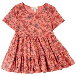 Speechless Big Girls Floral Tiered Short Sleeve Top