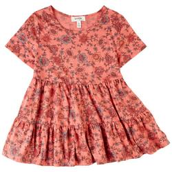 Big Girls Floral Tiered Short Sleeve Top