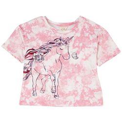 Self Esteem Big Girls Tie Dye Unicorn Short Sleeve Top