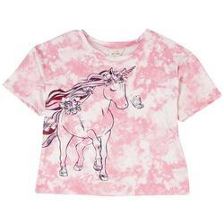 Big Girls Tie Dye Unicorn Short Sleeve Top
