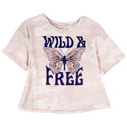 Self Esteem Big Girls Wild & Free Butterfly Short Sleeve Top