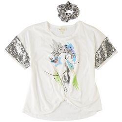 Self Esteem Big Girls Unicorn Sequin Short Sleeve Top