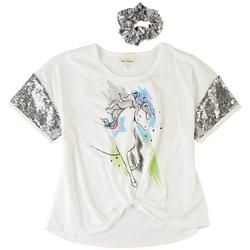 Big Girls Unicorn Sequin Short Sleeve Top