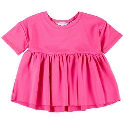Little Girls Short Sleeve Solid Peplum Top