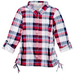 No Comment Big Girls Plaid Side Ruched Top