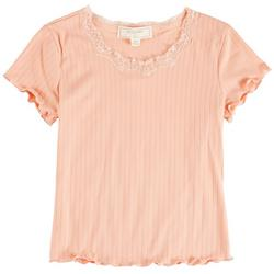 Big Girls Solid Lace Neck Top