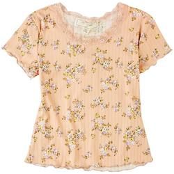 Big Girls Floral Lace Neck Top