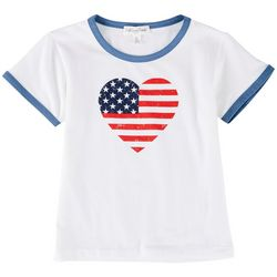 Full Circle Trends Big Girls Americana Heart Flag Top