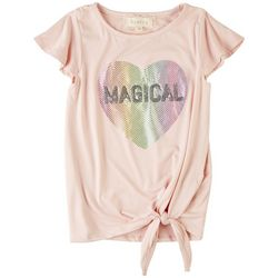 Btween Little Girls Magical Heart Tie Front Short Sleeve Top