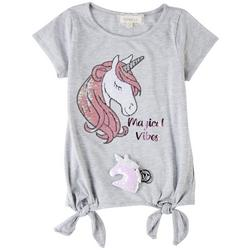 Big Girls Unicorn Sequin Top & Keychain