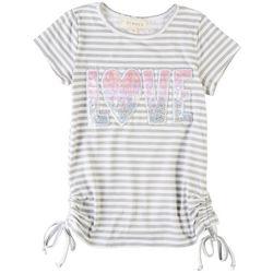 Btween Little Girls Love Stripe Short Sleeve Top