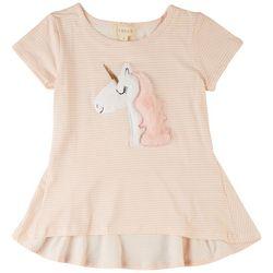 Btween Little Girls Unicorn Stripe Short Sleeve Top