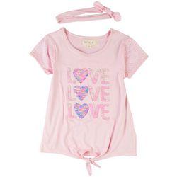 Btween Little Girls Love Sequin Tie Front Short Sleeve Top