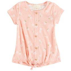 Btween Little Girls Floral Tie Front Short Sleeve Top