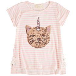 Btween Big Girls Sequin Cat Unicorn Stripe Short Sleeve Top
