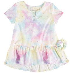 Btween Little Girls Tie Dye Ruffle Hem Short Sleeve Top