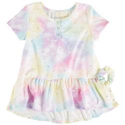 Little Girls Tie Dye Ruffle Hem Short Sleeve Top