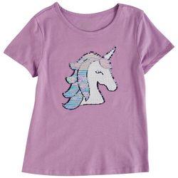 Dot & Zazz Little Girls Unicorn Head Sequin T-Shirt