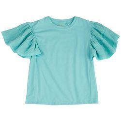 Jessica Simpson Big Girls Solid Flutter Sleeve Top